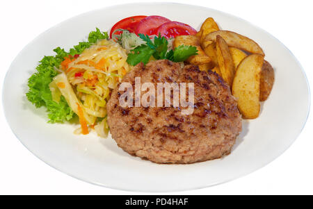 very large pizza, burger, patty, second course in the restaurant, fast food, food, healthy food - Stock Photo