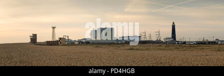 Panoramic view of the nuclear power station at Dungeness on the Kent coast. - Stock Photo