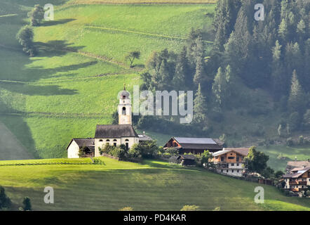 Panoramic view of San vigilio di Marebbe a beautiful town  in  south Tyrol on the Dolomites mountines - Stock Photo
