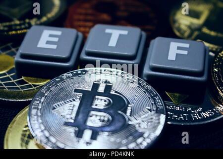 A crypto ETF - the next step towards a decentrailzed future - bitcoin ETF - Stock Photo