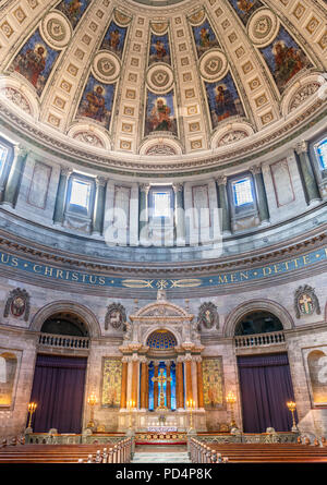 Interior of Frederiks Kirke (Frederik's Church), known as Marmorkirken (The Marble Church),  Frederiksstaden, Copenhagen, Denmark - Stock Photo