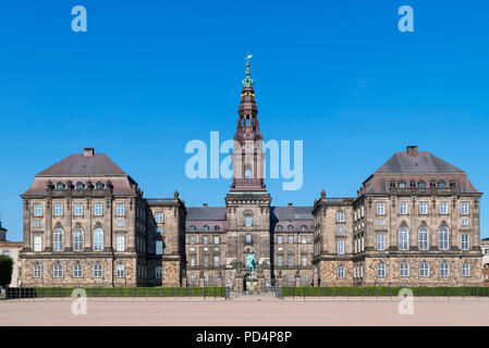 Rear of Christiansborg Slot (Christiansborg Palace), home to the Danish Parliament (Folketinget), Slotsholmen, Copenhagen, Denmark - Stock Photo