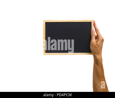Close-up of hand holding small chalkboard isolated on white background. Clipping path of hand holding object against white background. - Stock Photo