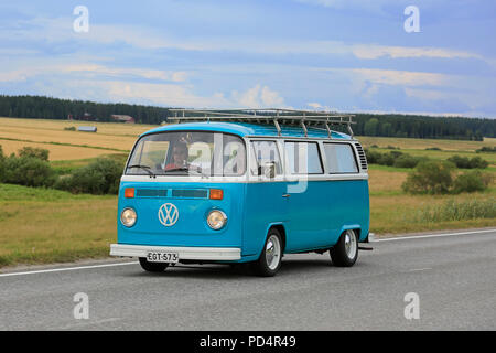 VAULAMMI, FINLAND - AUGUST 4, 2018: Classic Volkswagen turquoise and white Type 2 camper van on Maisemaruise 2018 car cruise in Tawastia Proper, Finla - Stock Photo