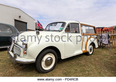 Austin Morris Minor 1000 Traveller on display at a classic car show - Stock Photo