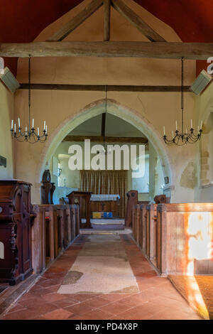 Inside the St Mary's Church in Upwaltham - a small 12th century church in Upwaltham - Stock Photo