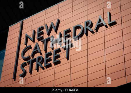 New Cathedral Street sign in Manchester City centre - Stock Photo