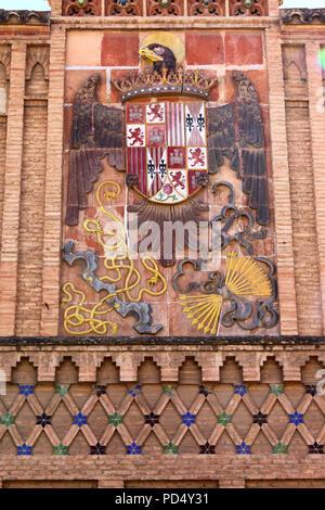 Coat of arms on wall of Arts School, Toledo, Castile-La Mancha, Spain - Stock Photo