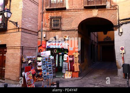 Souvenir shop in typical brick building, Toledo, Castile-La Mancha, Spain - Stock Photo