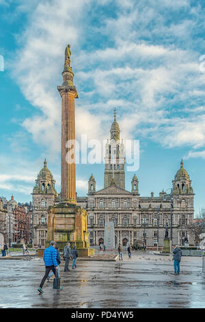 GLASGOW, SCOTLAND - FEBRUARY 11, 2014: The City Chambers in George Square, Glasgow, Scotland - Stock Photo