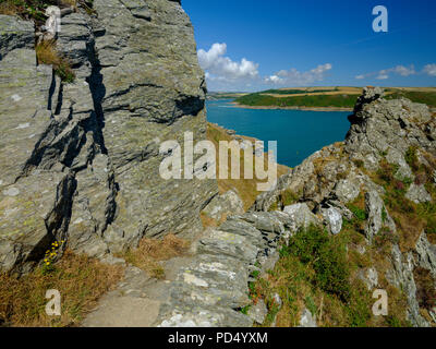 Sunny summer views from near Bolt Head over Starehole Bay, towards the Salcombe estuary and Prawle Point, Devon, UK - Stock Photo