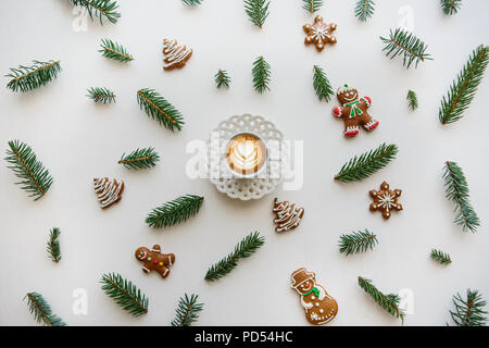 A cup of freshly flavored cappuccino coffee. Near the scenery in the Christmas or New Year's style. Christmas concept. - Stock Photo