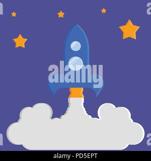 Launch of the rocket, the night starry sky on a violet background - Stock Photo