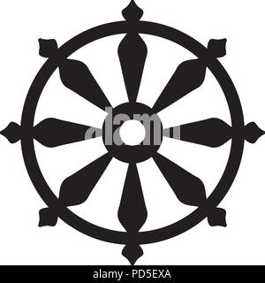 The Wheel of Samsara — Oriental Sacral Religious Symbol of Reincarnation: the cycle of death and rebirth to which life in the material world is bound. - Stock Photo