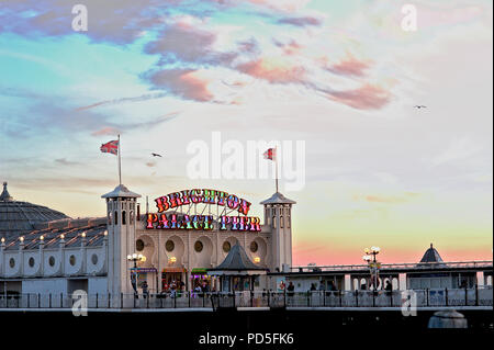 The famous Brighton Palace Pier on England's south coast changed its name in 2018 to Brighton Palace Pier, a combination of its two previous names. - Stock Photo