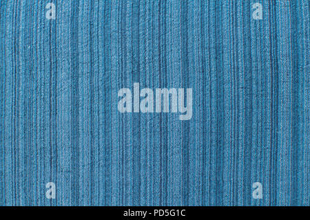 Silk and linen blue color natural fabric texture closeup as textile background - Stock Photo