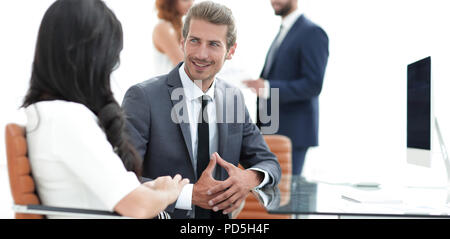 two employers working in team for the company - Stock Photo