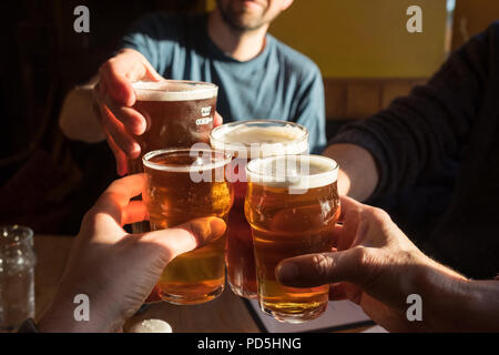 A party of four clink glasses (2 pints of cask ale and 2 half pints of cider) and say cheers at The Black Bull Inn in Frosterley, County Durham, UK. - Stock Photo