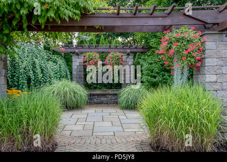 Landscape architecture with water features for summer garden - Stock Photo