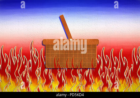 A conceptual piece inspired by the old phrase, 'going to hell in a hand basket', that happens to convey my feelings on the current state of things. - Stock Photo