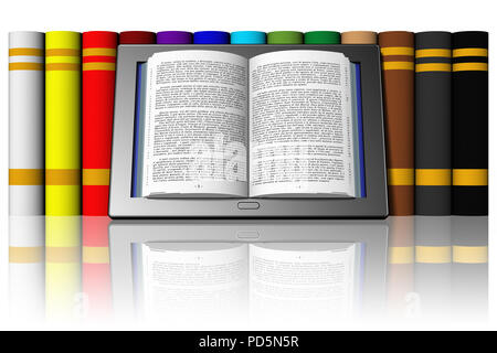 3D illustration. Book with text in tablet, e-book leaning against a row of books. - Stock Photo