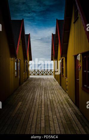 New camping cabins at Bleik, Lofoten Islands, Norway.