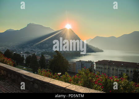 Tower of the Tessino park at dawn (Torre del Parco Tension) - Lugano - Stock Photo