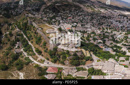 Gjirokastër is a city in southern Albania. Its old town is a UNESCO World Heritage Site, described as a rare example of a well-preserved Ottoman town. - Stock Photo
