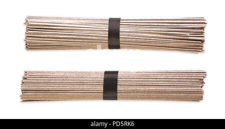 Japanese buckwheat noodles on a white background - Stock Photo