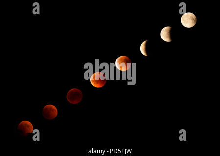 total Moon eclipse view from Italy on 27 July  2018 - Stock Photo