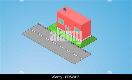 Little isometric house with shadow on turquoise blue background. Real estate, rent and home concept. EPS 8 vector illustration, no transparency. - Stock Photo