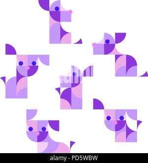 Nursery Childish Seamless Pattern Background with playing puppies. - Stock Photo