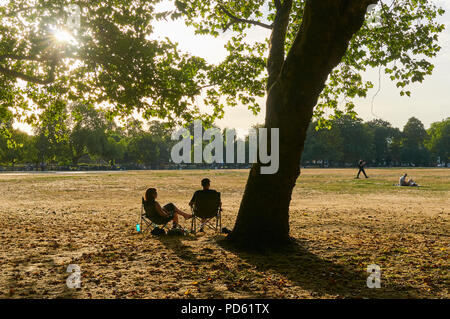 Sunbathers in Victoria Park, East London UK, in August, during the 2018 heatwave. with late afternoon sun and parched grass - Stock Photo