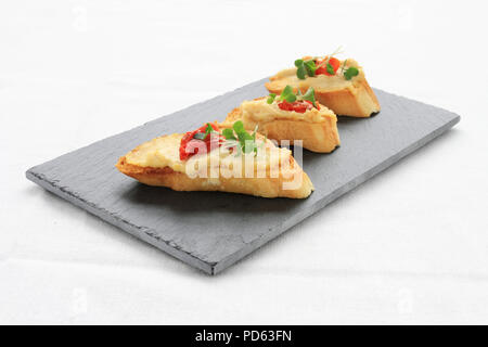 prepared bread canapes - Stock Photo