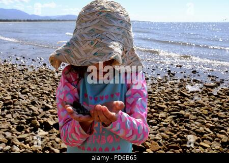 Young girl looks at a small sea creature found in rock pools at the beach, Toolakea QLD, Australia - Stock Photo