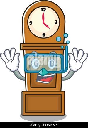 Diving grandfather clock character cartoon - Stock Photo