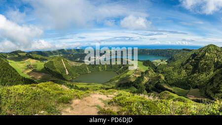 View to the Caldeira of Sete Cidades, Sao Miguel island, Azores, Portugal - Stock Photo