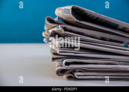 Newspapers pile background - Stock Photo