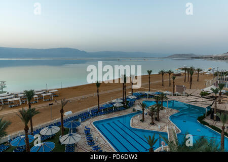 Southern view the dead sea from Ein Bokek beach shore - Stock Photo