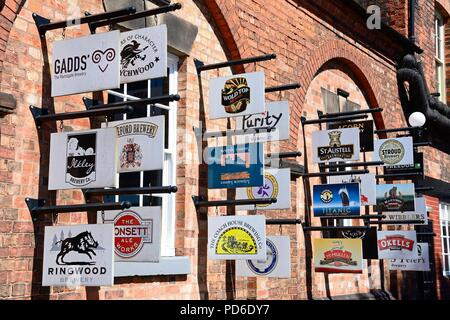 Brewery and beer signs on the wall outside the National Brewery Museum in Horninglow Street, Burton upon Trent, Staffordshire, England, UK, Western Eu - Stock Photo