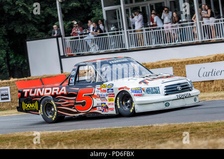 2004 Toyota Tundra NASCAR Truck Championship entrant with driver Andrew Franzone at the 2018 Goodwood Festival of Speed, Sussex, UK. - Stock Photo