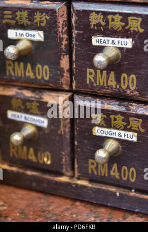 Traditional Chinese herbal medicine , Chinatown , Kuala Lumpur - Stock Photo
