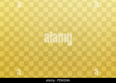 Japanese gold checkered pattern paper texture or vintage background - Stock Photo