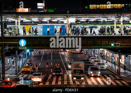 Japan, Honshu island, Kanto, Tokyo, a railway station and an underneath trafic road along the Yamanote line. - Stock Photo