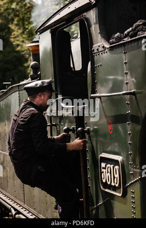 Steam Locomotive on the volunteer driven Bodmin and Wenford Railway - Stock Photo