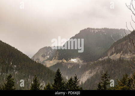 A view through trees of the Trans-Canada highway winding through mountains in Yoho National Park - Stock Photo