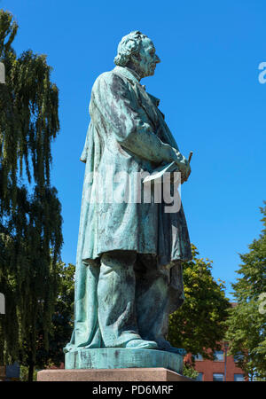 Statue of the Danish writer, Hans Christian Andersen in his home town of Odense, Funen, Denmark - Stock Photo