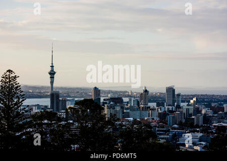View over Auckland in New Zealand from Mt Mount Eden Vulcano Oceania City - Stock Photo