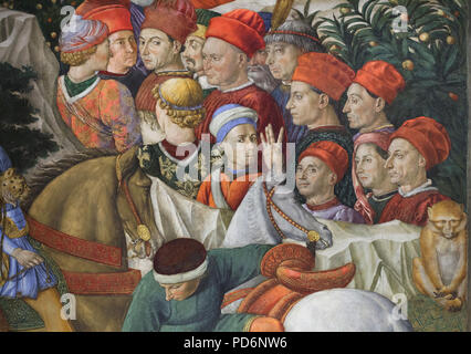 Self-portrait of Italian Renaissance painter Benozzo Gozzoli (in the white and blue hat in the centre) depicted in the mural by Benozzo Gozzoli in the Magi Chapel in the Palazzo Medici Riccardi in Florence, Tuscany, Italy. - Stock Photo
