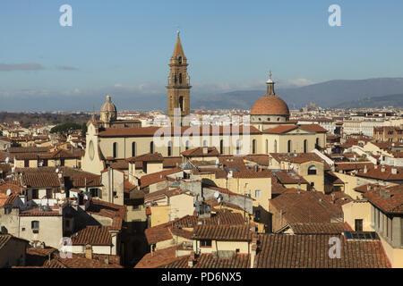 Basilica di Santo Spirito (Basilica of the Holy Spirit) in Florence, Tuscany, Italy. - Stock Photo